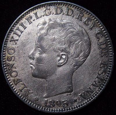 Puerto Rico: Alfonso XIII of Spain Peso 1895 PG-V. AU Cleaned.