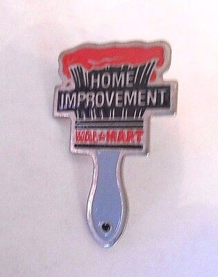 Cool Vintage Wal-Mart Home Improvement Paint Brush Advertising Lapel Pin Pinback