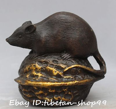 Old Chinese Bronze Gild Fengshui Zodiac Year Mouse Rat Mice On Walnut Statue