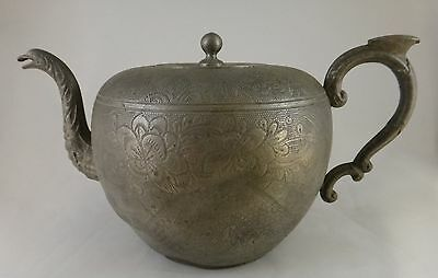 Antique Chinese Engraved Kut Hing Swatow Pewter Teapot. 2nd ½  19th c.  9 ½""