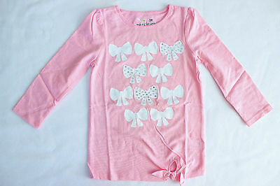 NWT Girls PInk Tie Front Top Shirt With Jeweled Bows 2T 3T Years Jumping Beans