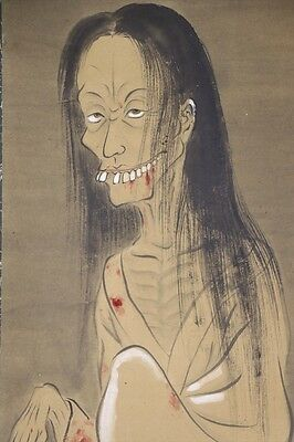 "JAPANESE HANGING SCROLL ART Painting ""Yurei, Ghost"" Asian antique  #E4678"
