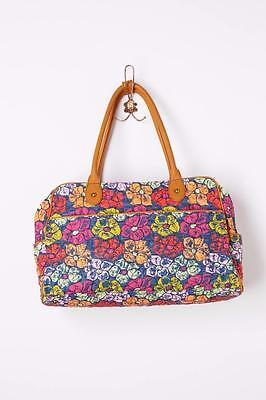 Anthropologie Duffel Bag Quilted Island Floral Miss Albright Tote Cotton Leather