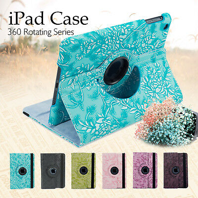360 Leather Smart Case Cover for Apple iPad 5 4 3 2 iPad mini 4 3 2 iPad Air Pro