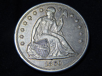 1860-O $1 Seated Dollar XF+ Extremely Original Look! Very Nice!!