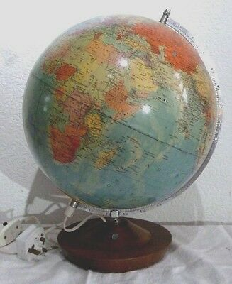 "VINTAGE 1970's working German RATH LIGHT-UP GLOBE with 8.5"" wood base,17""high"