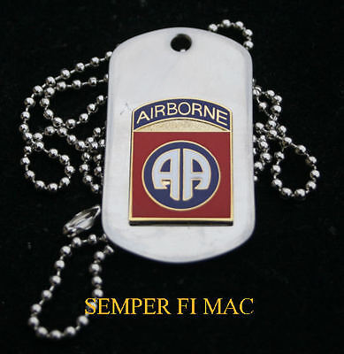 82nd AIRBORNE DIVISION ALL AMERICAN DOG TAG PIN UP US ARMY VETERAN GIFT WOW