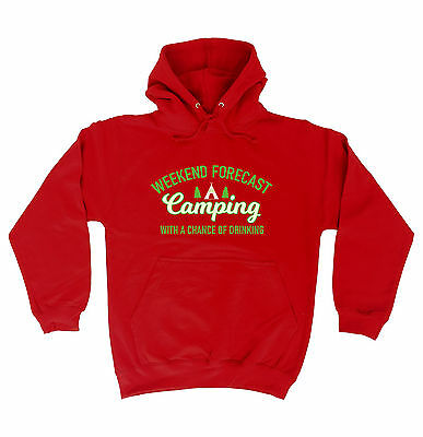 Weekend Forecast Camping Drinking HOODIE hoody birthday camper tent funny gift