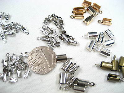 Cord End Tips Coil Crimp End cap fold over Tips Necklace chain tail extender
