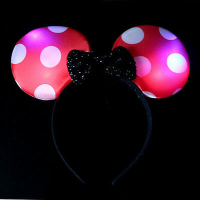 Minnie Mouse Polka Dot Bow Light Up Headband Flashing Ear Pink Red Rose