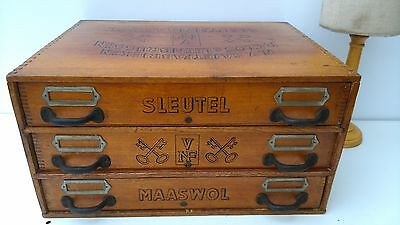 Antique,wooden 3 drawer silk spool thread cabinet,Sleutel,store counter,