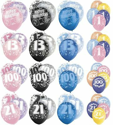 "Birthday Party Glitz Latex Balloons 12"" Pink Blue Decorations 6 Pack Ages 13-100"