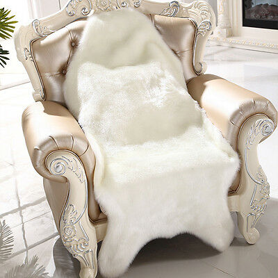 New Soft Faux Sheepskin Chair Cover Warm Hairy Carpet Seat Pad Fluffy Rug lot BE