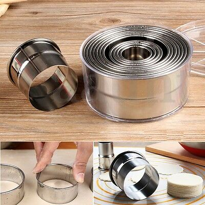 12X Set Round Stainless Steel Cake Biscuit Cookie Dough Cutter Mold Baking Tool