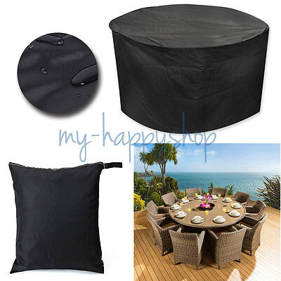 Black 185cm Round Waterproof Outdoor Outside Garden Patio Set Furniture Cover AU