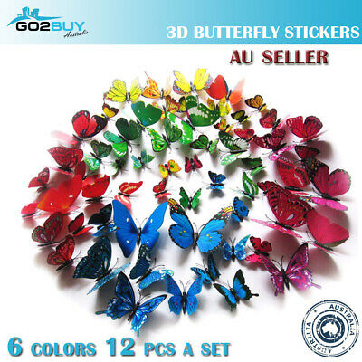 12PCS 3D Butterfly Wall Removable Sticker Decals Kids Art Nursery Decor Magnets