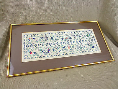 Antique Chinese Silk Embroidery Panel Framed Vintage Needlework Butterfly Vtg