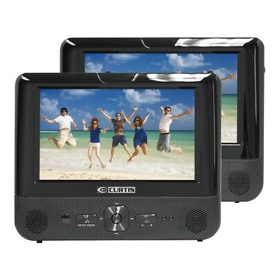 "Curtis 8758 7"" Dual Screen Multi Region Portable in car DVD Player"