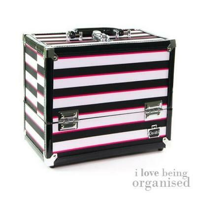Makeup Organiser Case Stylist 6 Tray Train Case Pink & Black Stripes