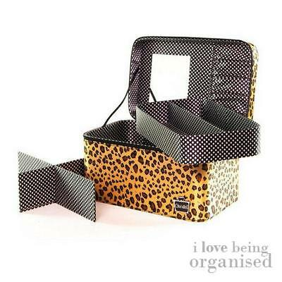 Animal Print Vanity Case Makeup Organiser w/ Removable Trays and Mirror