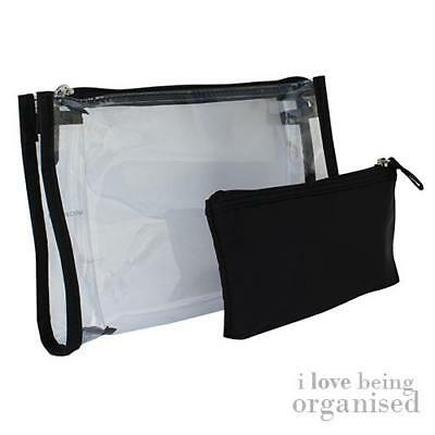Small Clear Travel Cosmetics Makeup Purse w/ Black Padded Pencil Case