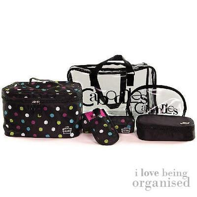 Caboodles Clear Travel Set Bag Cosmetic Makeup w/ Free Makeup Brushes