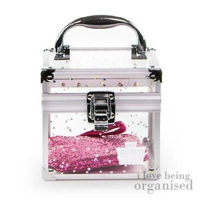 Clear Star Pattern Beauty Accessory Box w/ Free Glitter Purse