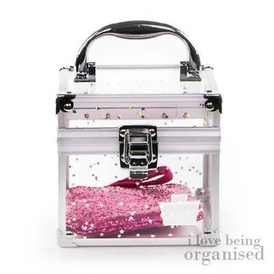 Girly Accessories Box | Silver Stars Clear Cube Carry Case | Caboodles Oh La La