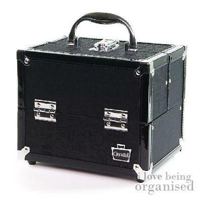 Caboodles Black Train Case Makeup Cosmetic Box Organizer Pro Four Tray Beauty