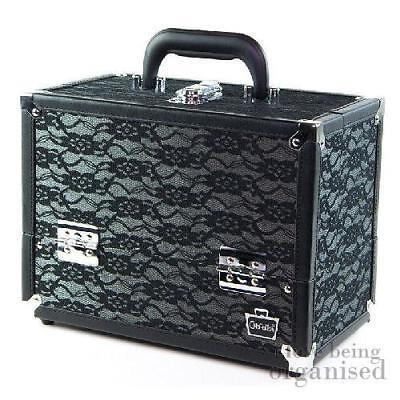 Elegant Black Lace Makeup Cosmetic Organiser Train Case w/ 6 Folding Trays