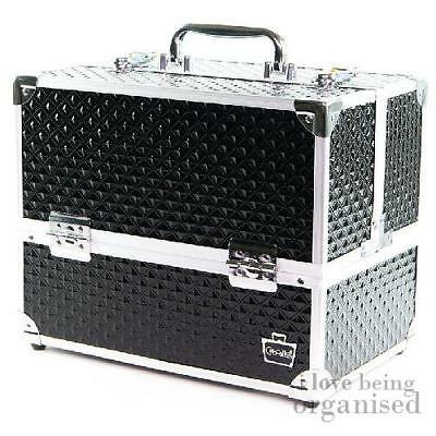 Large Professional Makeup Train Case, Caboodles Lovestruck Diamond 6 Tray Train