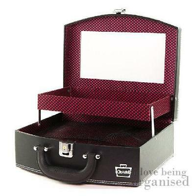 Nail Technician Cosmetic Case w/ Secret Compartment Mirror & Adjustable Dividers