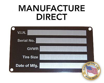 New STAMPED Trailer Truck Equipment VIN frame Plate Serial Number Model ID USA