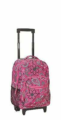 Pink Paisley Rolling Backpack Floral School Bookbag Wheeled Travel Carry Bag