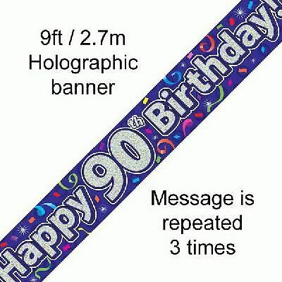 Happy 90th Birthday Streamers Holographic 9ft Banner