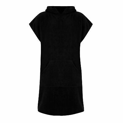 Unisex Hooded 100% Cotton Changing Robe Terry Towelling Swimming Surf, Black
