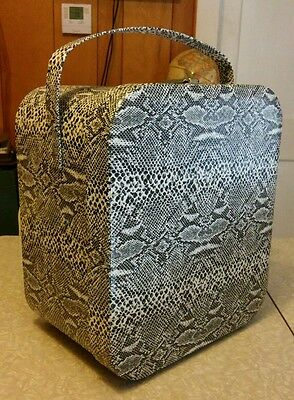 Air-lander vintage locking hat or wig box, snakeskin print.