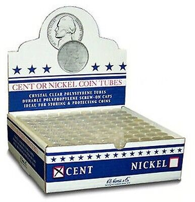 Box of 100 Harris Cent Coin Tubes Round Clear Cent Coin Tube