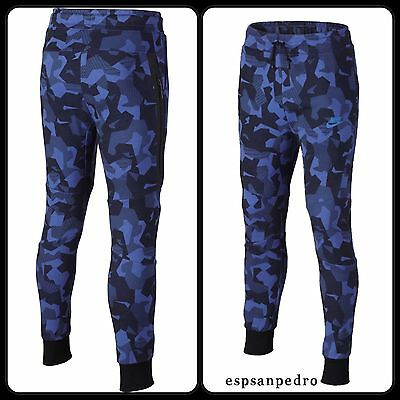 Nike Kids Tech Fleece Camo Joggers Blue Size L 12-13 YRS [828723 480] BNWT