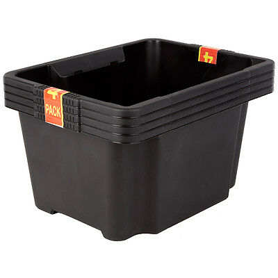 4 x Keter Home/Office Plastic Stackable Storage Bin Boxes - Multi-Use Organiser