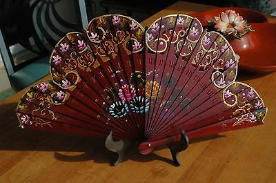 VINTAGE HAND PAINTED FLORAL FAN~  Red Lacquer