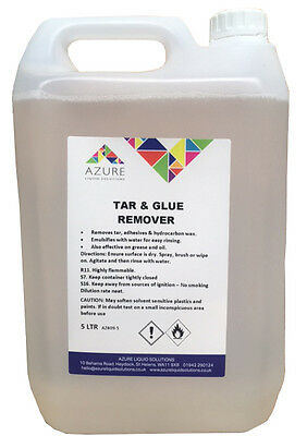 Azure Tar & Glue Remover Easy Rinsing Removes Tar Adhesives Hydrocarbon Wax - 5L