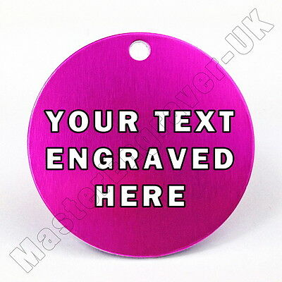 PERSONALISED ENGRAVED PET ID TAG - LARGE 32mm DISC - PINK + FREE RING