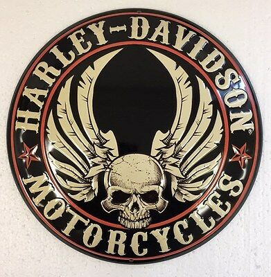 Ande Rooney HARLEY DAVIDSON FLYING SKULL BUTTON Motorcycle Garage HD Tin Sign