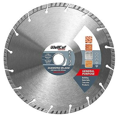 WELLCUT Diamond Disc 230 mm Turbo for Angle Grinder, Standard High Quality