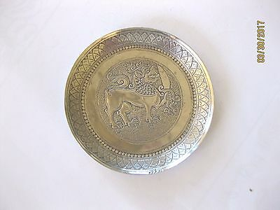 SOLID SRI LANKA (CEYLON) SILVER    PIN TRAY  LION with SWORD