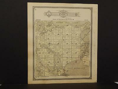 Minnesota Otter Tail County Map Everts Girard Township 1912 Double Side K12#86