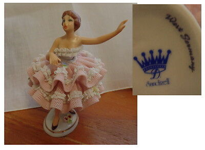 Vintage Sandizell  Lady Porcelain Lace Figure  crown Sandizell W.Germany