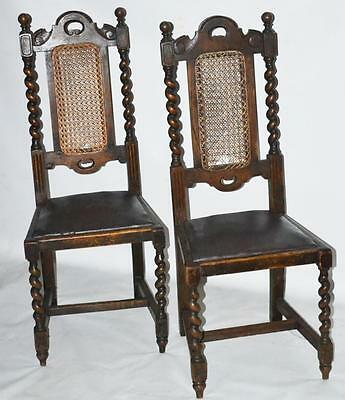 Antique Set of 2 Oak Carolean Barley Twist Dining Chairs - FREE Delivery PL-3354