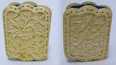 ANTIQUE 19th C Finely Carved Chinese Floral Bone Pin Cushion Disc
